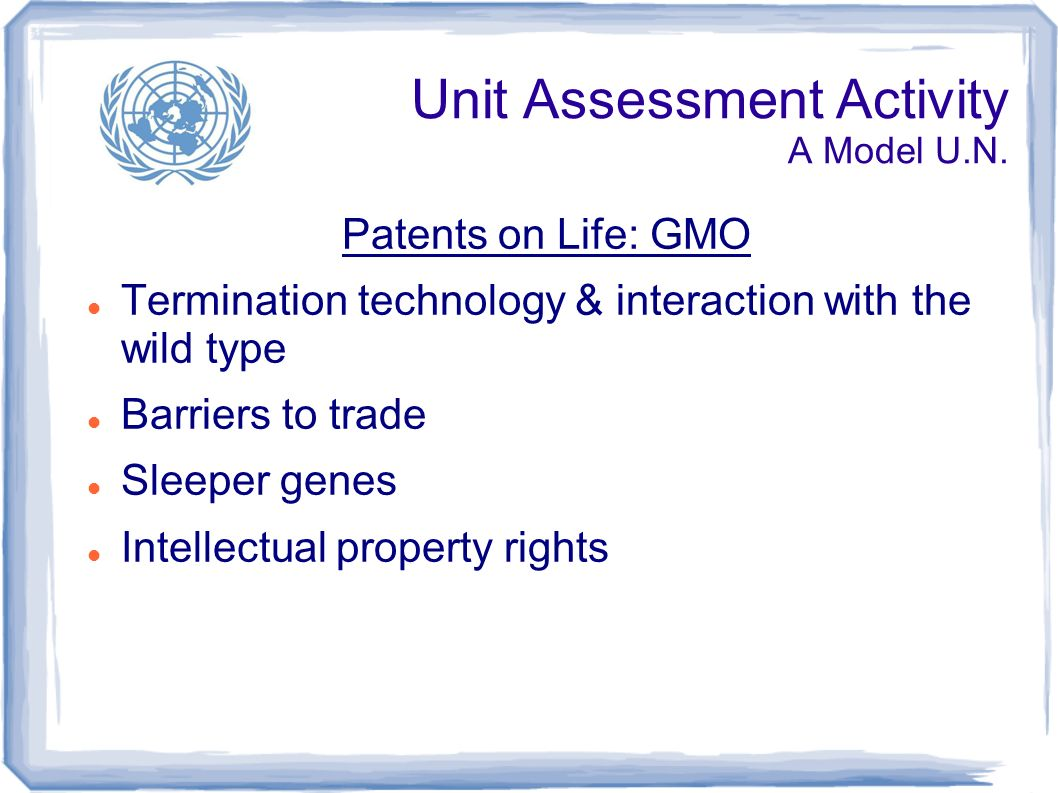 Unit Assessment Activity A Model U.N.