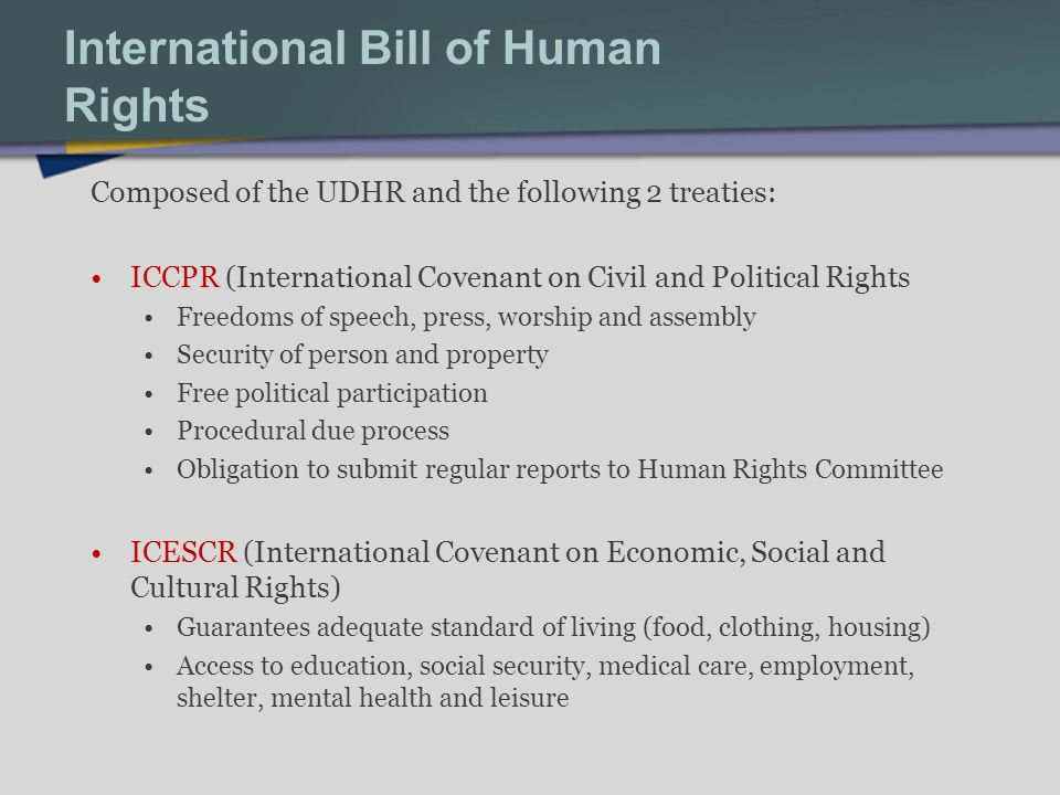 International Bill of Human Rights Composed of the UDHR and the following 2 treaties: ICCPR (International Covenant on Civil and Political Rights Freedoms of speech, press, worship and assembly Security of person and property Free political participation Procedural due process Obligation to submit regular reports to Human Rights Committee ICESCR (International Covenant on Economic, Social and Cultural Rights) Guarantees adequate standard of living (food, clothing, housing) Access to education, social security, medical care, employment, shelter, mental health and leisure