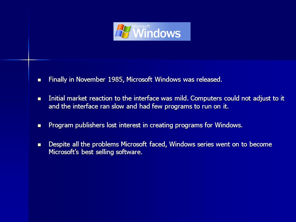 Finally in November 1985, Microsoft Windows was released.