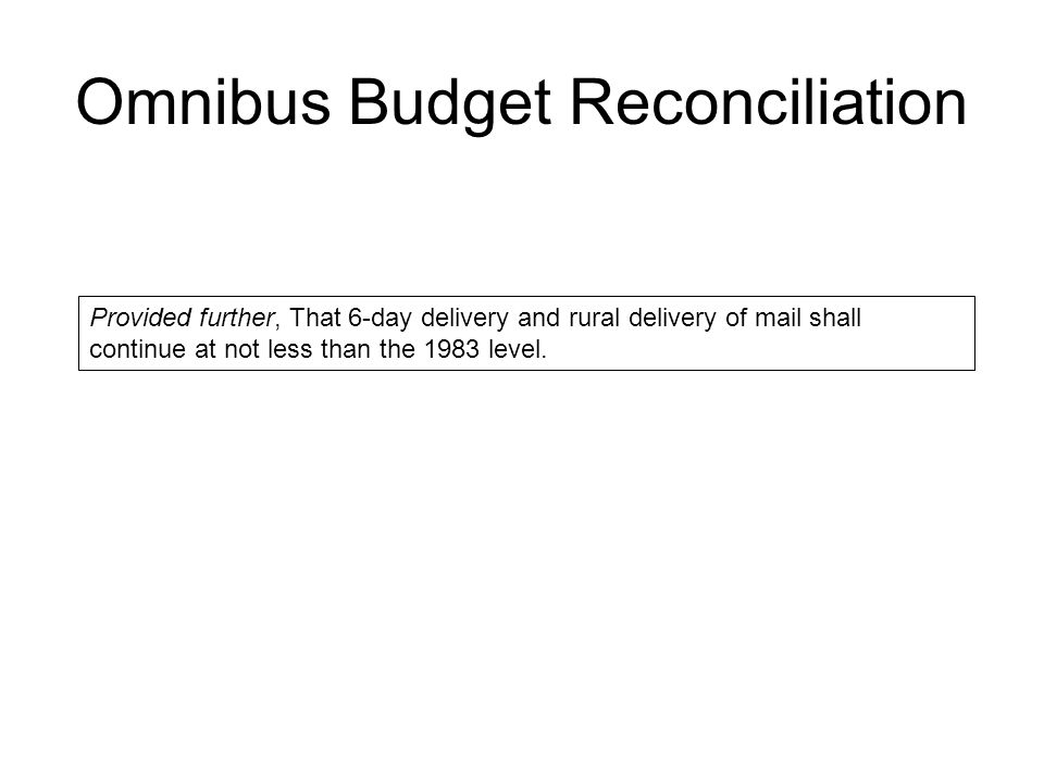 Omnibus Budget Reconciliation Provided further, That 6-day delivery and rural delivery of mail shall continue at not less than the 1983 level.