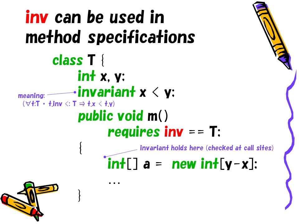 inv can be used in method specifications class T { int x, y; invariant x < y; public void m( ) requires inv == T; { int[ ] a = new int[y-x]; … } invariant holds here (checked at call sites) meaning: (t:T t.inv <: T t.x < t.y)