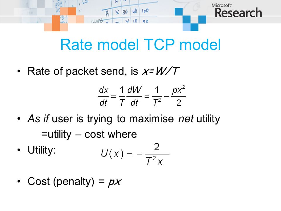 Rate model TCP model Rate of packet send, is x=W/T As if user is trying to maximise net utility =utility – cost where Utility: Cost (penalty) = px
