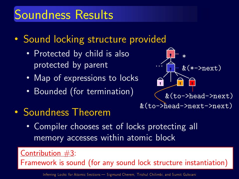 Inferring Locks for Atomic Sections | Sigmund Cherem, Trishul Chilimbi, and Sumit Gulwani Sound locking structure provided Protected by child is also protected by parent Map of expressions to locks Bounded (for termination) Soundness Theorem Compiler chooses set of locks protecting all memory accesses within atomic block Soundness Results &(to->head->next) &(to->head->next->next) … &(*->next) * Contribution #3: Framework is sound (for any sound lock structure instantiation)