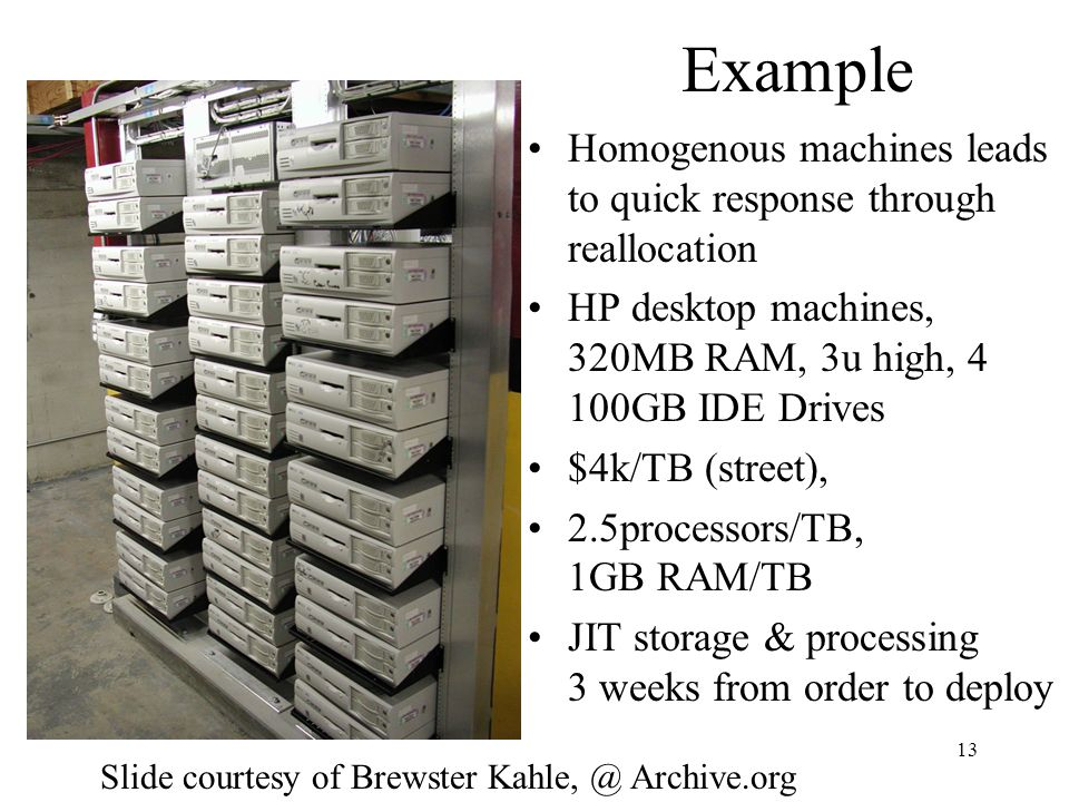 13 Example Homogenous machines leads to quick response through reallocation HP desktop machines, 320MB RAM, 3u high, 4 100GB IDE Drives $4k/TB (street), 2.5processors/TB, 1GB RAM/TB JIT storage & processing 3 weeks from order to deploy Slide courtesy of Brewster Archive.org