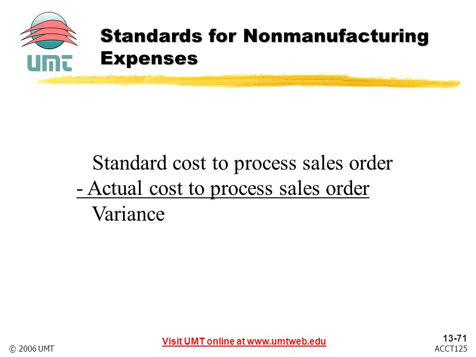 Visit UMT online at www.umtweb.edu 13-71 ACCT125© 2006 UMT Standard cost to process sales order - Actual cost to process sales order Variance Standards for Nonmanufacturing Expenses