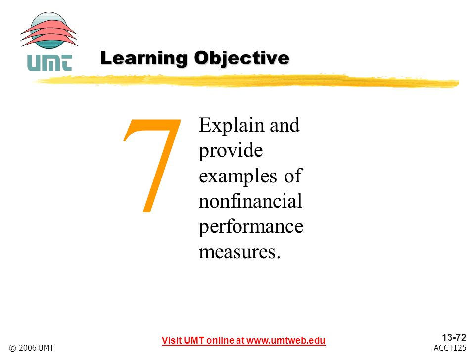 Visit UMT online at www.umtweb.edu 13-72 ACCT125© 2006 UMT Explain and provide examples of nonfinancial performance measures.