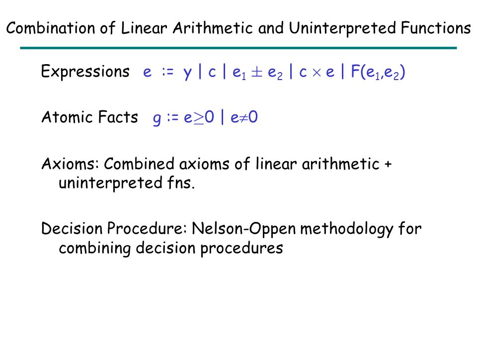 Outline Decision Procedures –Linear Arithmetic –Uninterpreted Functions Combination of Linear Arithmetic and Uninterpreted Fns Logical Abstract Interpretation –Linear Arithmetic –Uninterpreted Functions –Combination of Linear Arithmetic and Uninterpreted Fns –Universally Quantified Formulas Hardness of Assertion Checking –Linear Arithmetic –Uninterpreted Functions –Combination of Linear Arithmetic and Uninterpreted Fns