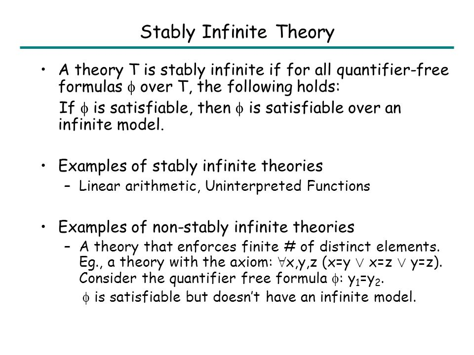 Examples of Non-convex Theory y=sel(upd(M,a,0),b) ) y=0 Ç y=sel(M,b) But y=sel(upd(M,a,0),b) ) y=0 and y=sel(upd(M,a,0),b) ) y=sel(M,b) / / Theory of Integer Linear Arithmetic Theory of Arrays 2 · y · 3 ) y=2 Ç y=3 But 2 · y · 3 ) y=2 and 2 · y · 3 ) y=3 / /