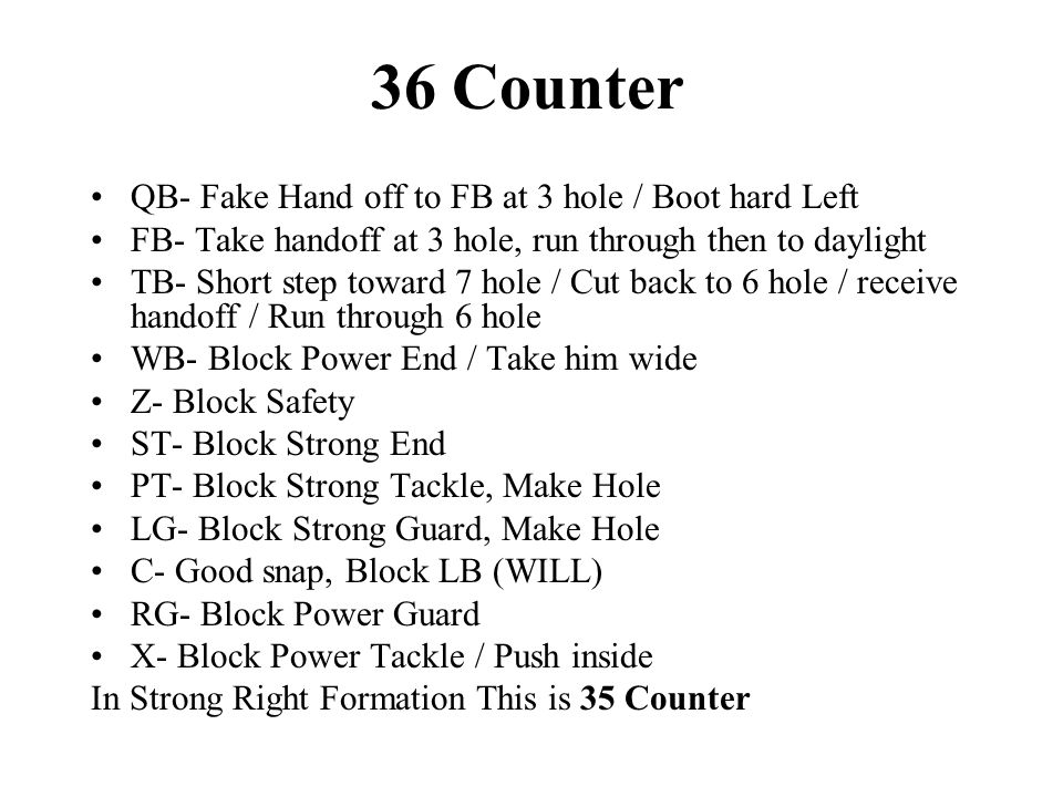 36 Counter QB- Fake Hand off to FB at 3 hole / Boot hard Left FB- Take handoff at 3 hole, run through then to daylight TB- Short step toward 7 hole / Cut back to 6 hole / receive handoff / Run through 6 hole WB- Block Power End / Take him wide Z- Block Safety ST- Block Strong End PT- Block Strong Tackle, Make Hole LG- Block Strong Guard, Make Hole C- Good snap, Block LB (WILL) RG- Block Power Guard X- Block Power Tackle / Push inside In Strong Right Formation This is 35 Counter