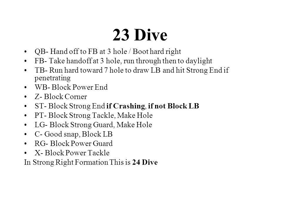 23 Dive QB- Hand off to FB at 3 hole / Boot hard right FB- Take handoff at 3 hole, run through then to daylight TB- Run hard toward 7 hole to draw LB and hit Strong End if penetrating WB- Block Power End Z- Block Corner ST- Block Strong End if Crashing, if not Block LB PT- Block Strong Tackle, Make Hole LG- Block Strong Guard, Make Hole C- Good snap, Block LB RG- Block Power Guard X- Block Power Tackle In Strong Right Formation This is 24 Dive
