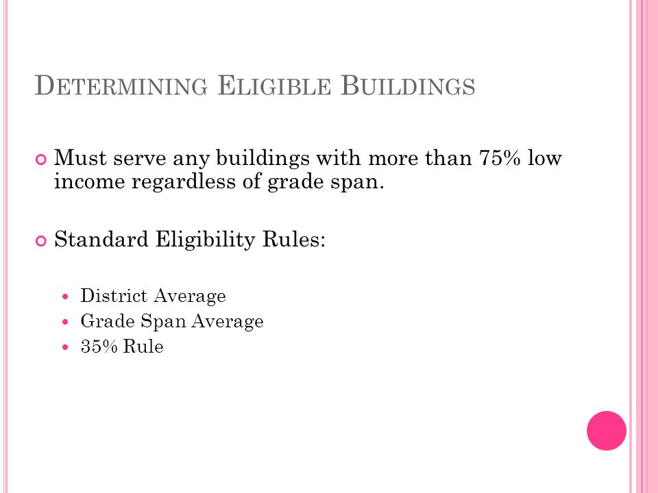 D ETERMINING E LIGIBLE B UILDINGS Must serve any buildings with more than 75% low income regardless of grade span.