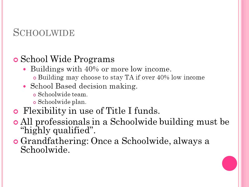 S CHOOLWIDE School Wide Programs Buildings with 40% or more low income.