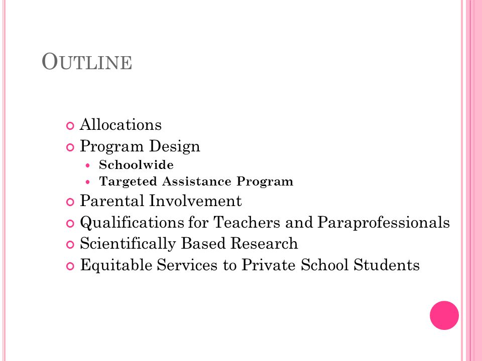O UTLINE Allocations Program Design Schoolwide Targeted Assistance Program Parental Involvement Qualifications for Teachers and Paraprofessionals Scientifically Based Research Equitable Services to Private School Students