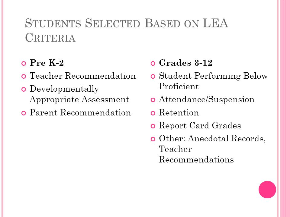 S TUDENTS S ELECTED B ASED ON LEA C RITERIA Pre K-2 Teacher Recommendation Developmentally Appropriate Assessment Parent Recommendation Grades 3-12 Student Performing Below Proficient Attendance/Suspension Retention Report Card Grades Other: Anecdotal Records, Teacher Recommendations
