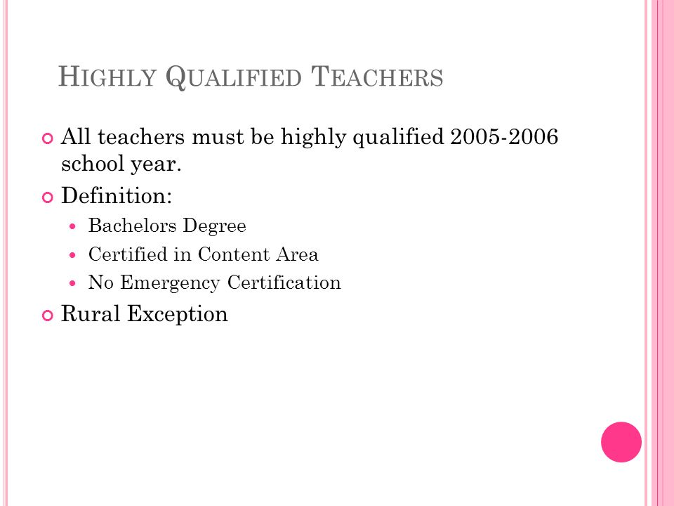 H IGHLY Q UALIFIED T EACHERS All teachers must be highly qualified school year.