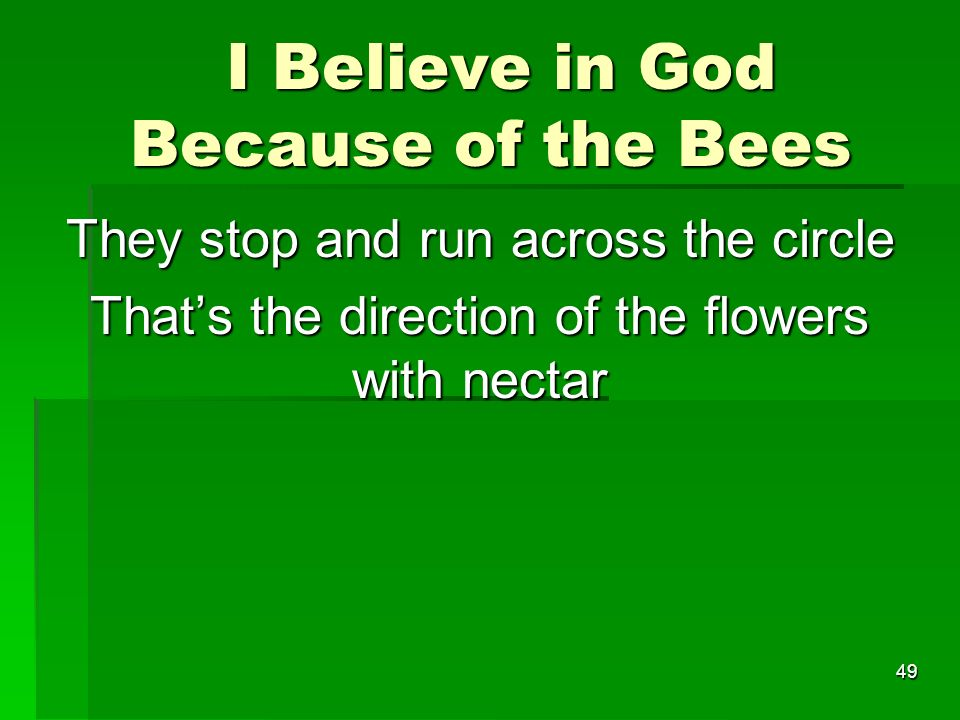 I Believe in God Because of the Bees I Believe in God Because of the Bees They stop and run across the circle Thats the direction of the flowers with nectar 49
