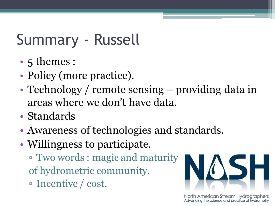 Summary - Russell 5 themes : Policy (more practice).