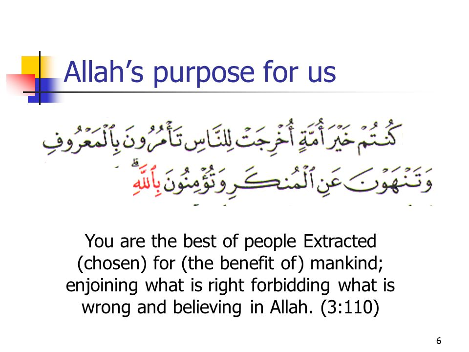 6 Allahs purpose for us You are the best of people Extracted (chosen) for (the benefit of) mankind; enjoining what is right forbidding what is wrong and believing in Allah.