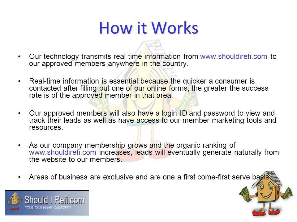 How it Works Our technology transmits real-time information from www.shouldirefi.com to our approved members anywhere in the country.