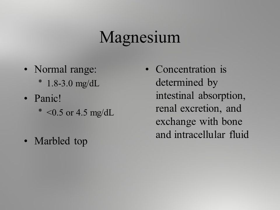 Magnesium Normal range: ٭ mg/dL Panic.