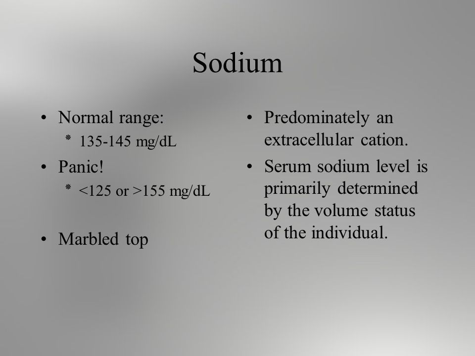 Sodium Normal range: ٭ mg/dL Panic.