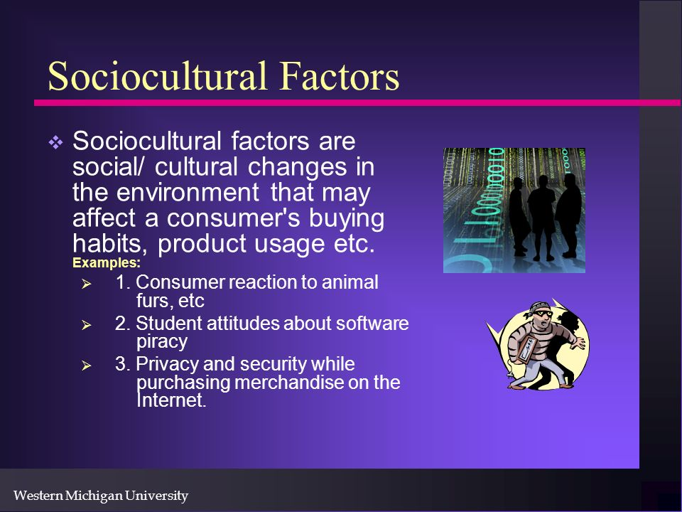 Western Michigan University Sociocultural Factors Sociocultural factors are social/ cultural changes in the environment that may affect a consumer s buying habits, product usage etc.