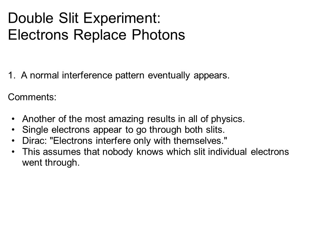 Double Slit Experiment: Electrons Replace Photons 1.
