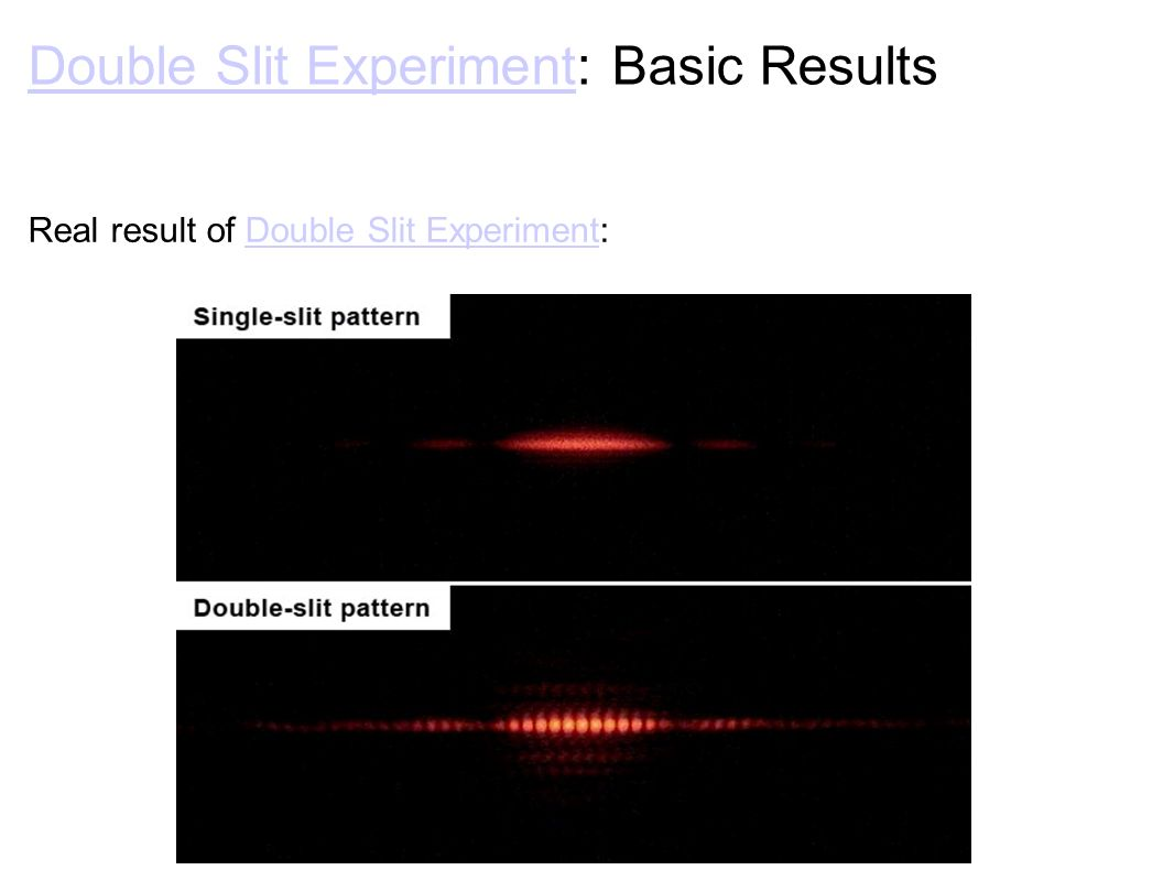 Double Slit ExperimentDouble Slit Experiment: Basic Results Real result of Double Slit Experiment:Double Slit Experiment
