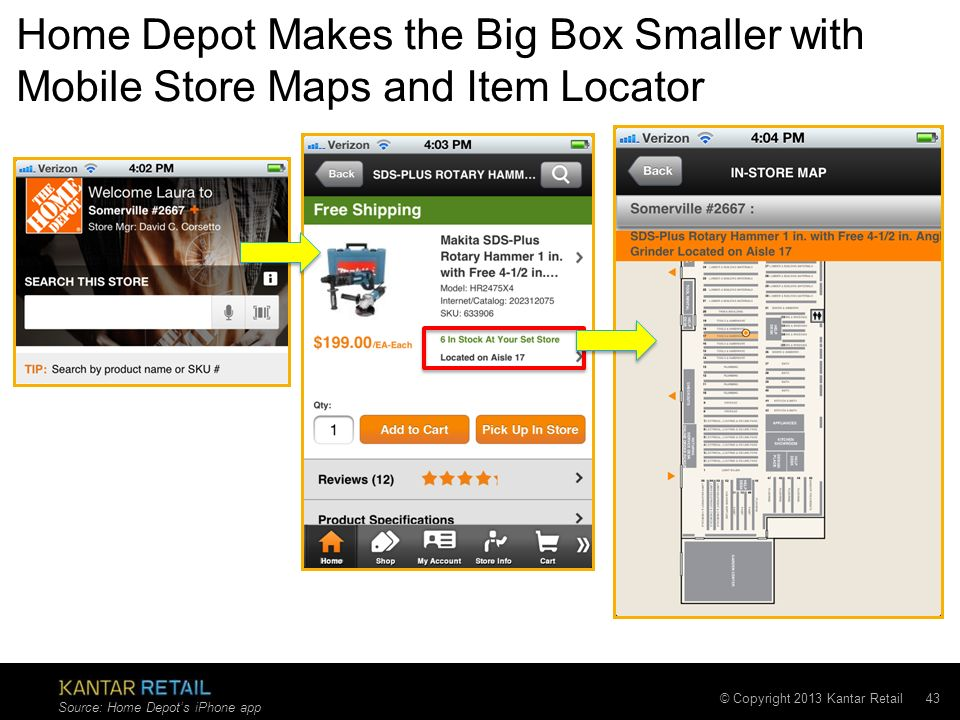 © Copyright 2013 Kantar Retail 43 Home Depot Makes the Big Box Smaller with Mobile Store Maps and Item Locator Source: Home Depots iPhone app