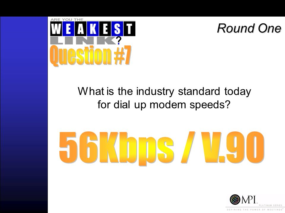 What is the industry standard today for dial up modem speeds Round One