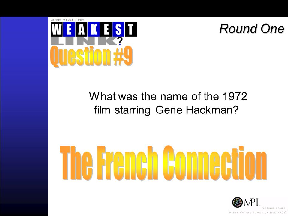 What was the name of the 1972 film starring Gene Hackman Round One