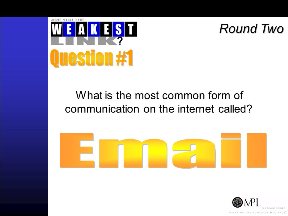 What is the most common form of communication on the internet called Round Two
