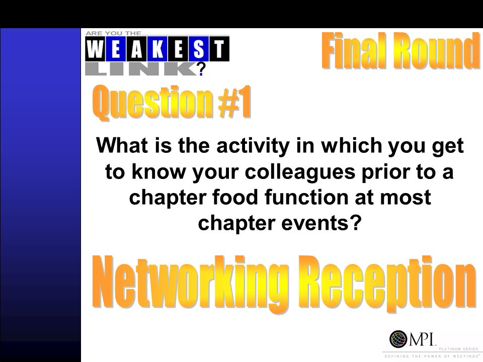 What is the activity in which you get to know your colleagues prior to a chapter food function at most chapter events