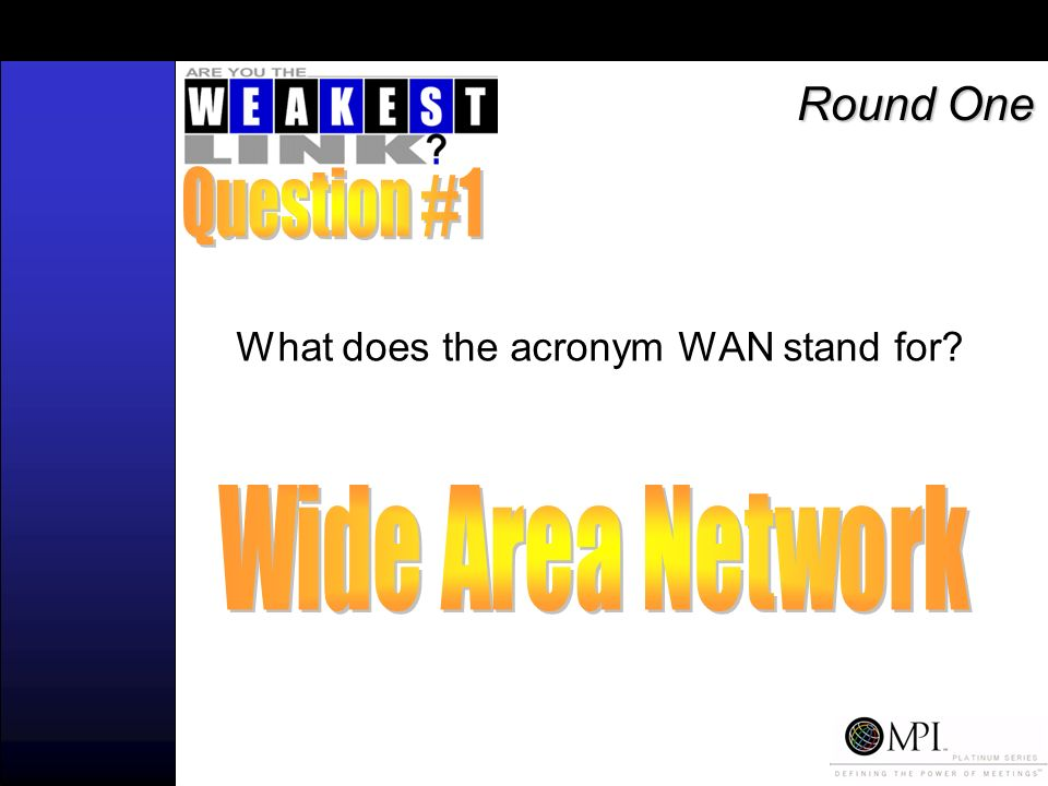 What does the acronym WAN stand for Round One