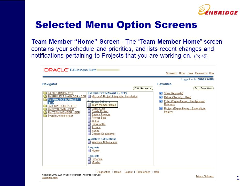 2 Selected Menu Option Screens Team Member Home Screen - The Team Member Home screen contains your schedule and priorities, and lists recent changes and notifications pertaining to Projects that you are working on.