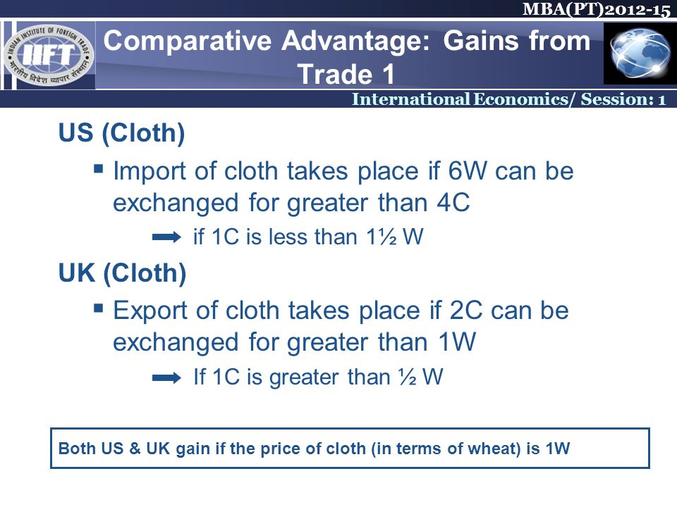 MBA(PT) International Economics/ Session: 1 Comparative Advantage: Gains from Trade 1 US (Cloth) Import of cloth takes place if 6W can be exchanged for greater than 4C if 1C is less than 1½ W UK (Cloth) Export of cloth takes place if 2C can be exchanged for greater than 1W If 1C is greater than ½ W Both US & UK gain if the price of cloth (in terms of wheat) is 1W