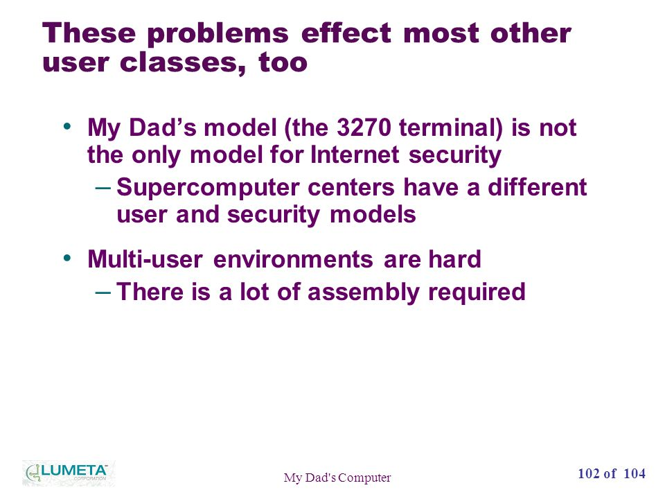 102 of 104 My Dad s Computer These problems effect most other user classes, too My Dads model (the 3270 terminal) is not the only model for Internet security – Supercomputer centers have a different user and security models Multi-user environments are hard – There is a lot of assembly required