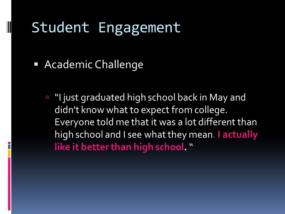 Student Engagement Academic Challenge I just graduated high school back in May and didn t know what to expect from college.