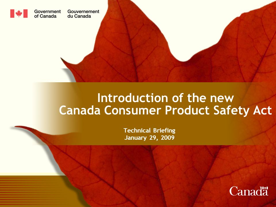 Introduction of the new Canada Consumer Product Safety Act Technical Briefing January 29, 2009