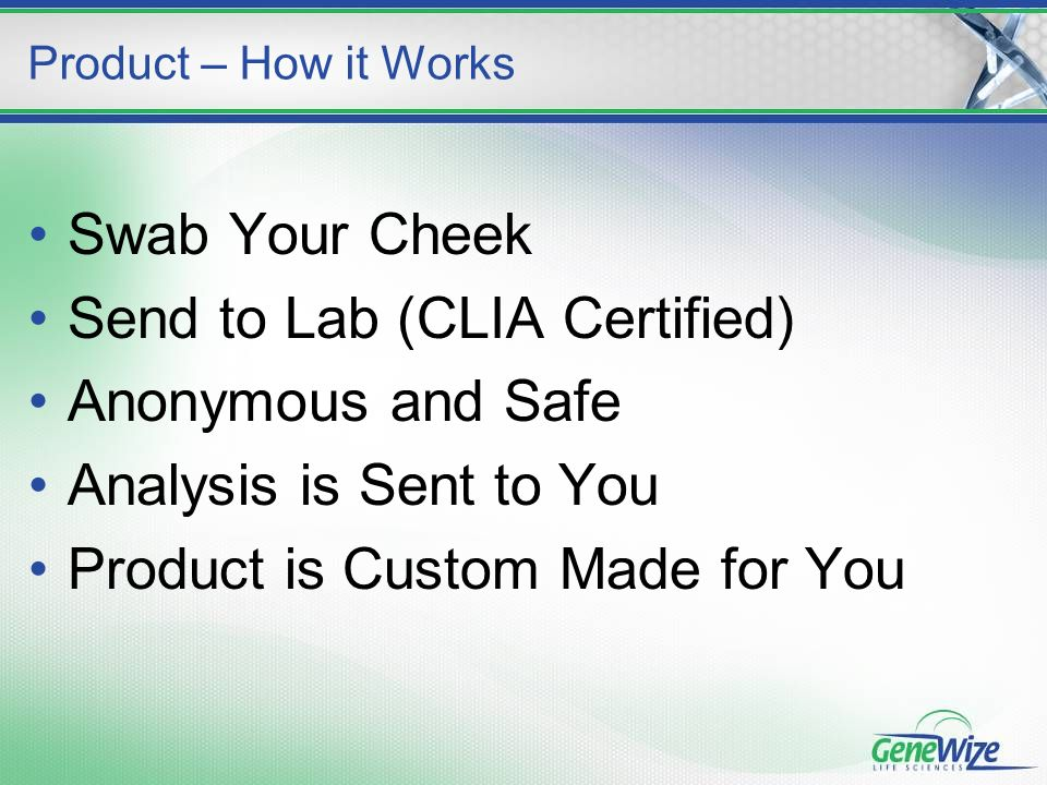 Swab Your Cheek Send to Lab (CLIA Certified) Anonymous and Safe Analysis is Sent to You Product is Custom Made for You Product – How it Works