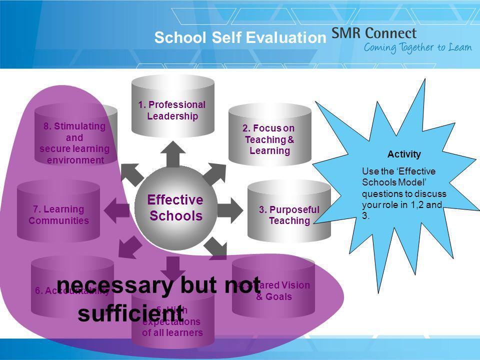 Effective Schools 1. Professional Leadership 5. High expectations of all learners 2.