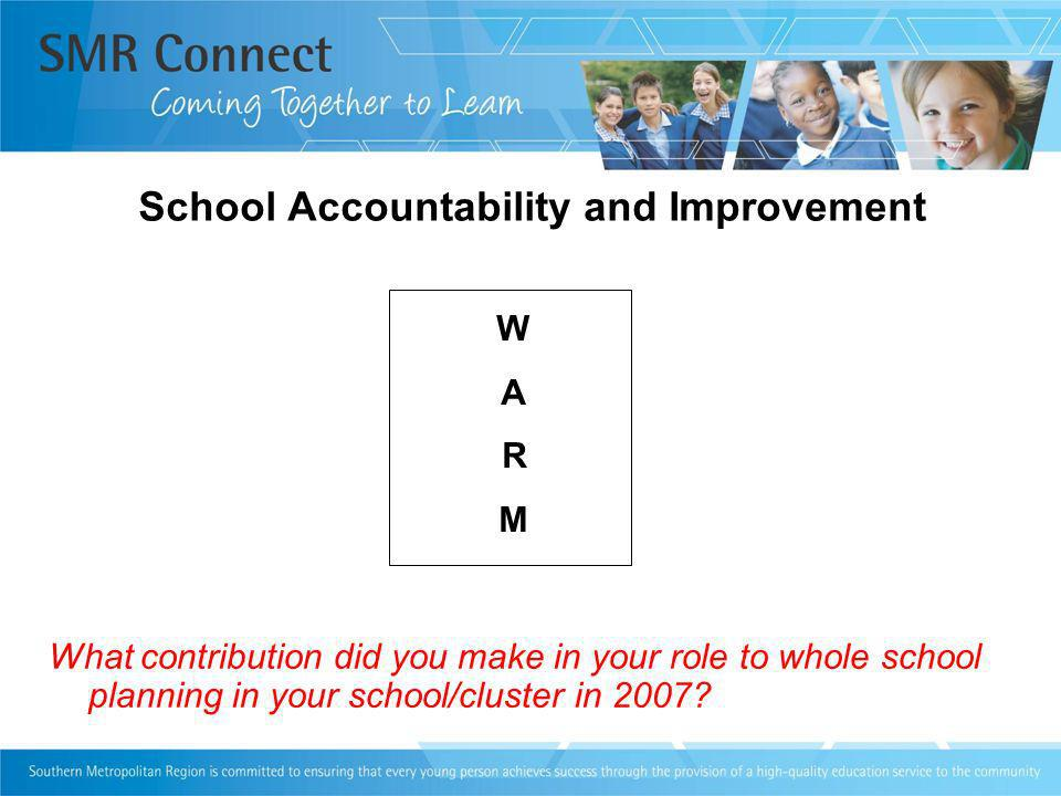 School Accountability and Improvement What contribution did you make in your role to whole school planning in your school/cluster in 2007.