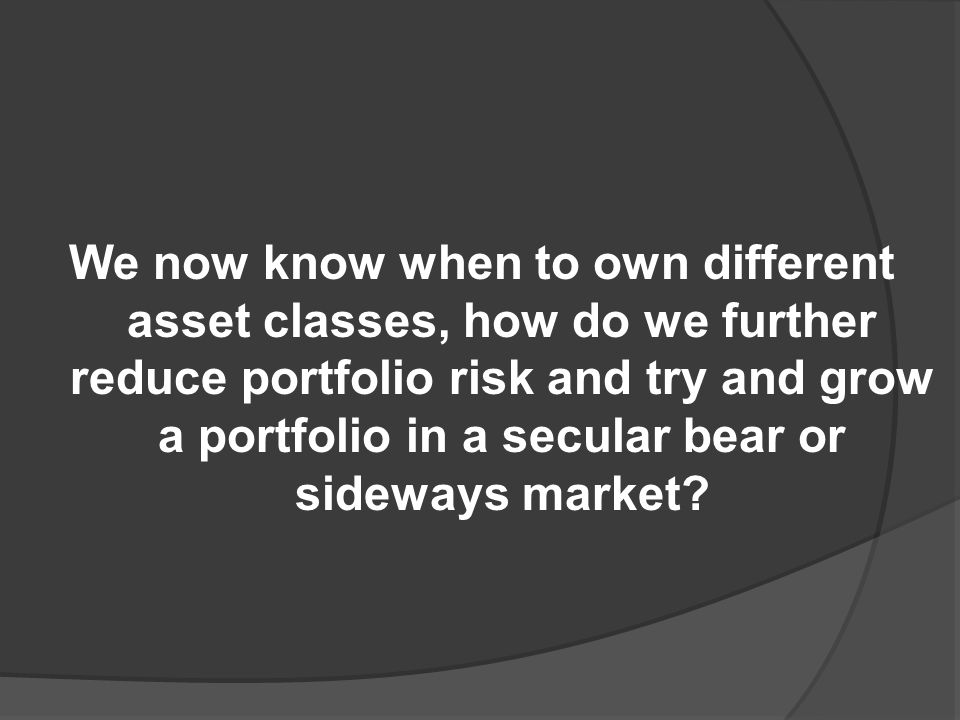 We now know when to own different asset classes, how do we further reduce portfolio risk and try and grow a portfolio in a secular bear or sideways market