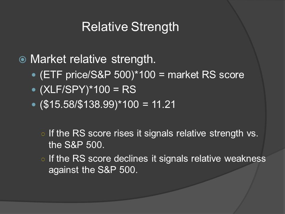 Relative Strength Market relative strength.