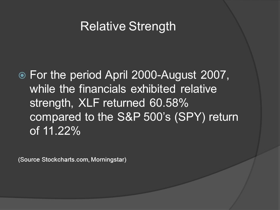 Relative Strength For the period April 2000-August 2007, while the financials exhibited relative strength, XLF returned 60.58% compared to the S&P 500s (SPY) return of 11.22% (Source Stockcharts.com, Morningstar)