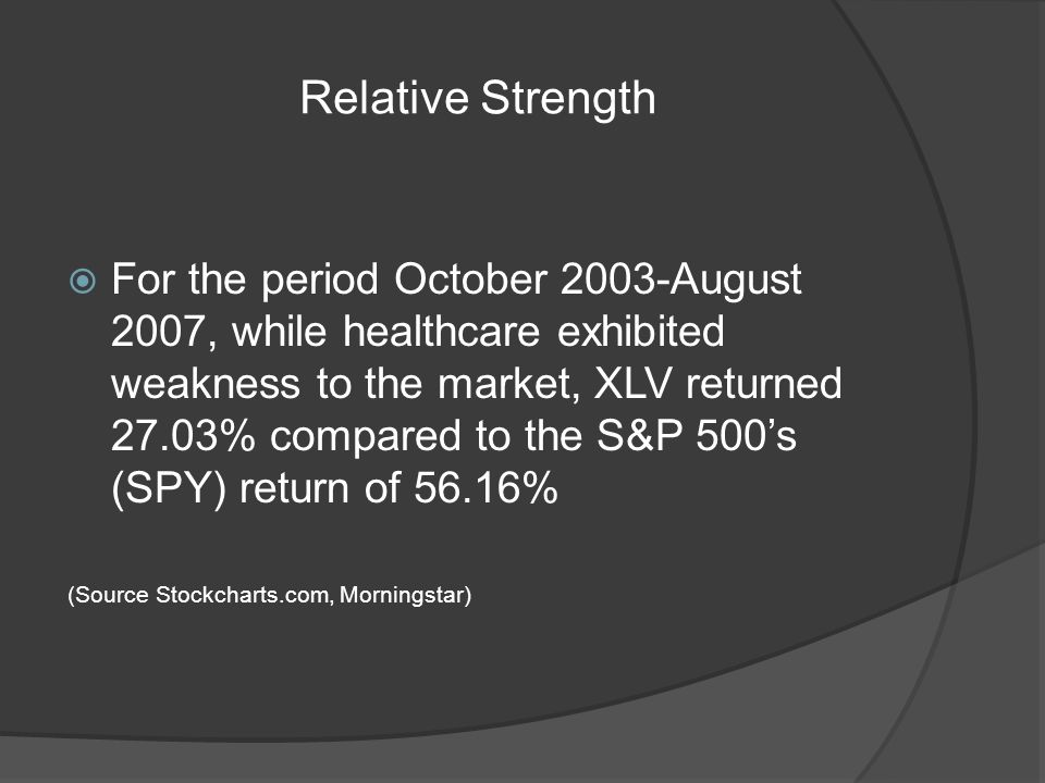 Relative Strength For the period October 2003-August 2007, while healthcare exhibited weakness to the market, XLV returned 27.03% compared to the S&P 500s (SPY) return of 56.16% (Source Stockcharts.com, Morningstar)
