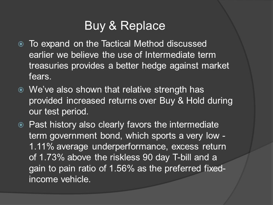 Buy & Replace To expand on the Tactical Method discussed earlier we believe the use of Intermediate term treasuries provides a better hedge against market fears.