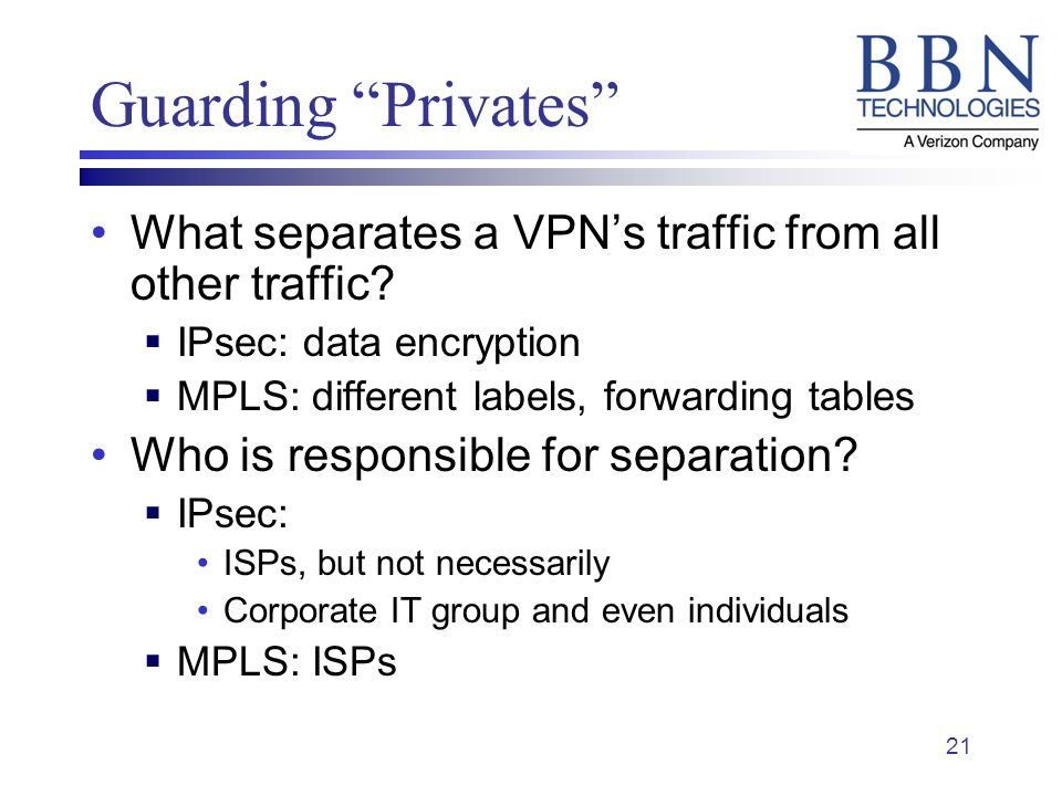21 Guarding Privates What separates a VPNs traffic from all other traffic.