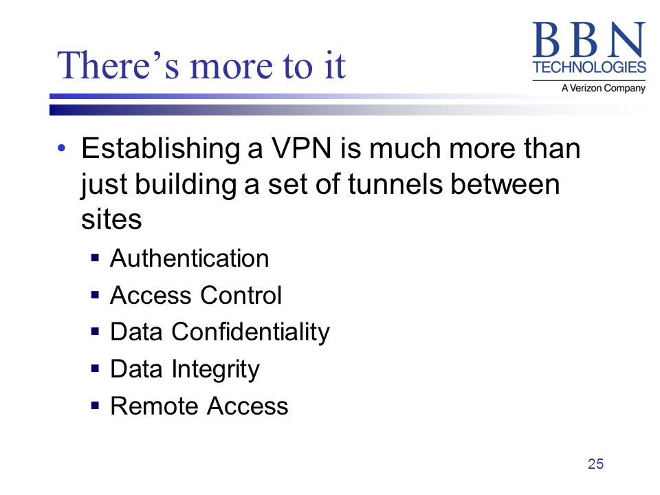 25 Theres more to it Establishing a VPN is much more than just building a set of tunnels between sites Authentication Access Control Data Confidentiality Data Integrity Remote Access