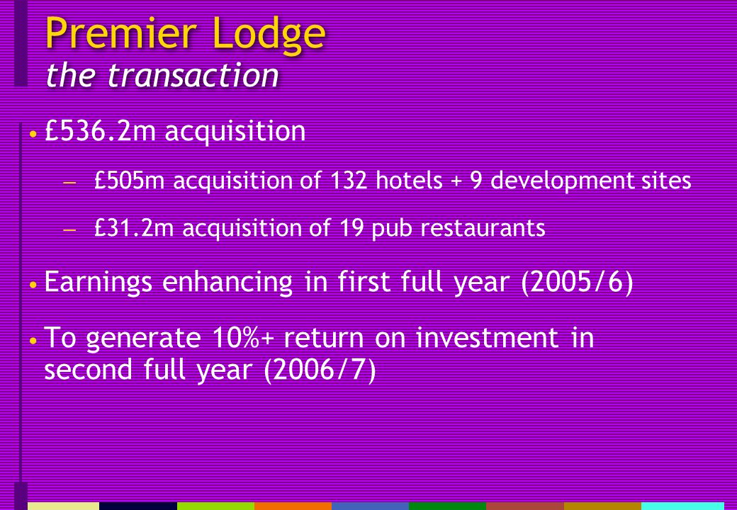 Premier Lodge the transaction £536.2m acquisition £505m acquisition of 132 hotels + 9 development sites £31.2m acquisition of 19 pub restaurants Earnings enhancing in first full year (2005/6) To generate 10%+ return on investment in second full year (2006/7)